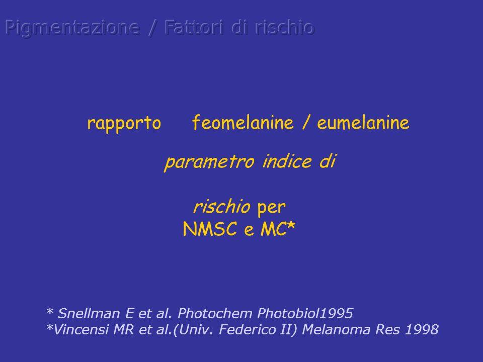 rapporto feomelanine / eumelanine parametro indice di