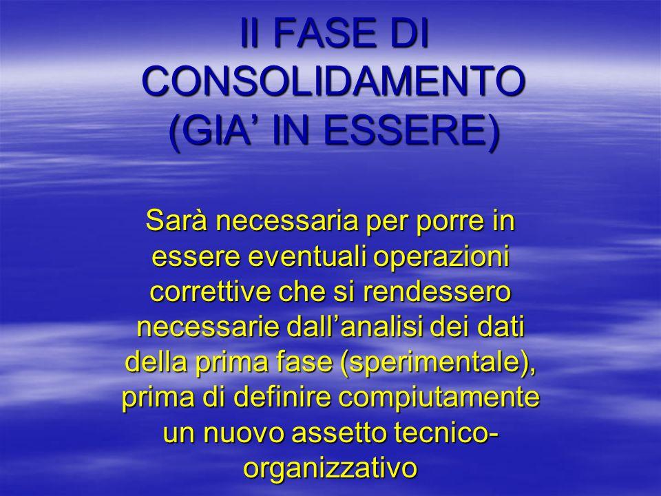 II FASE DI CONSOLIDAMENTO (GIA' IN ESSERE)