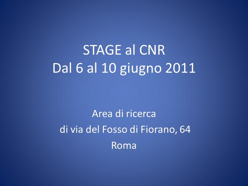 STAGE al CNR Dal 6 al 10 giugno 2011