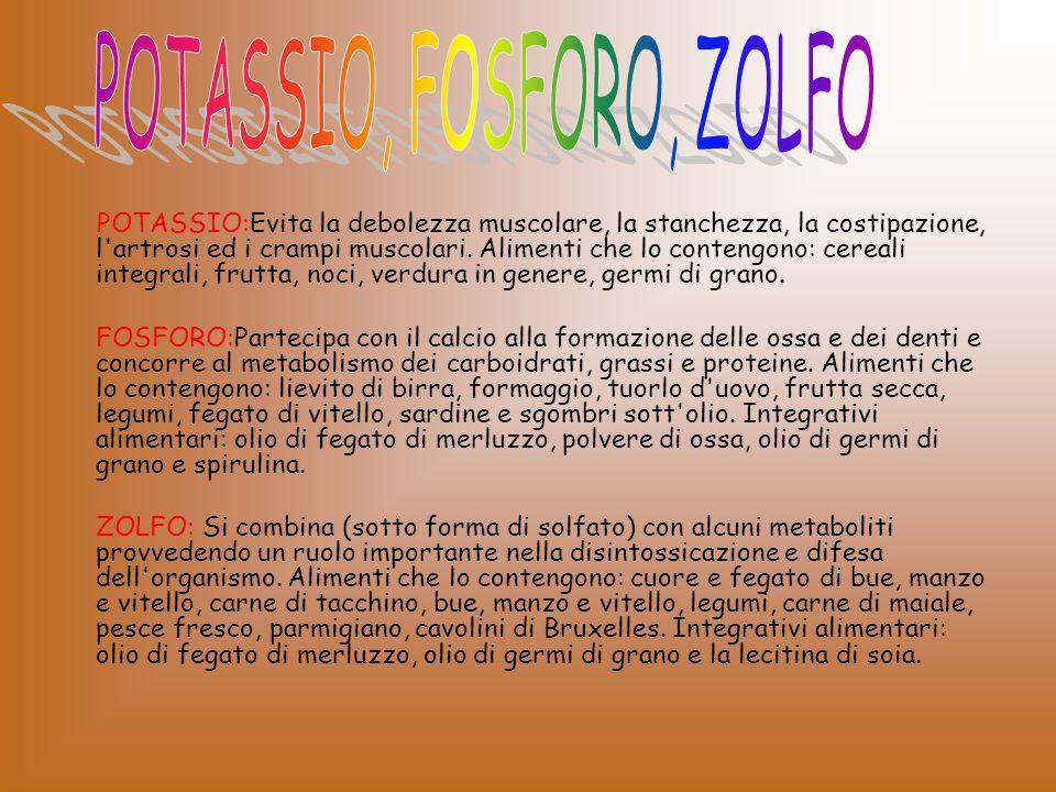 POTASSIO, FOSFORO, ZOLFO