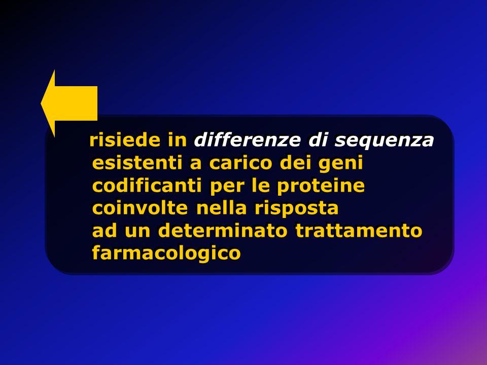risiede in differenze di sequenza esistenti a carico dei geni codificanti per le proteine coinvolte nella risposta ad un determinato trattamento farmacologico