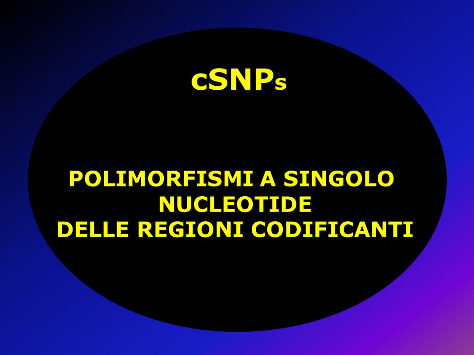 POLIMORFISMI A SINGOLO NUCLEOTIDE DELLE REGIONI CODIFICANTI