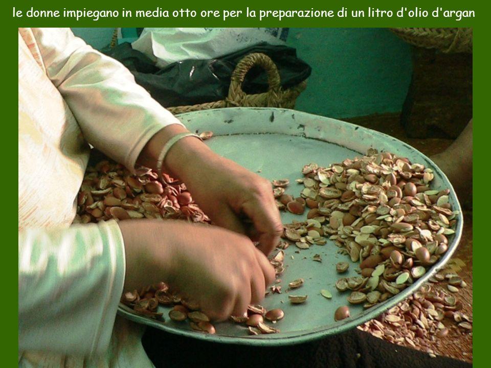 le donne impiegano in media otto ore per la preparazione di un litro d olio d argan
