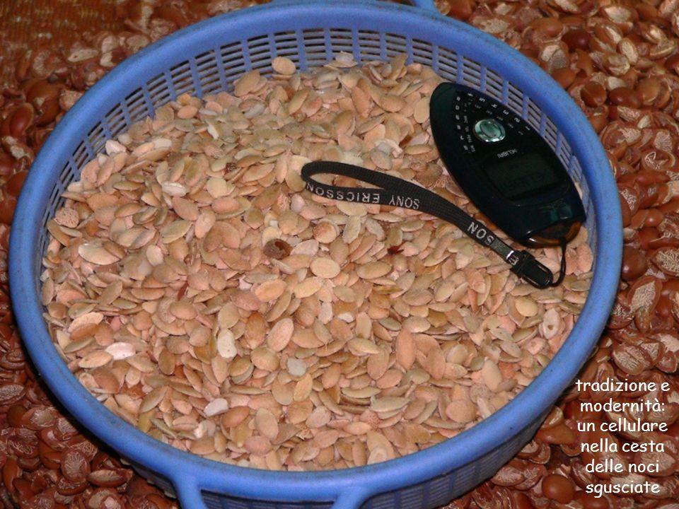 tradizione e modernità: un cellulare nella cesta delle noci sgusciate