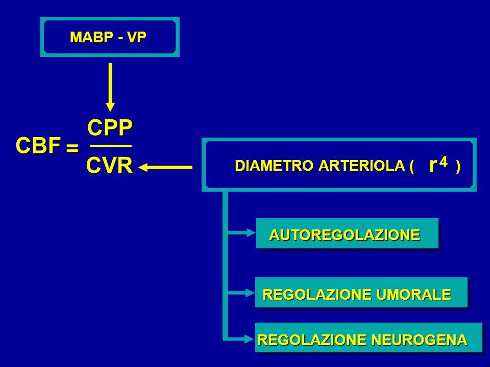 CPP CBF = CVR r MABP - VP 4 DIAMETRO ARTERIOLA ( ) AUTOREGOLAZIONE