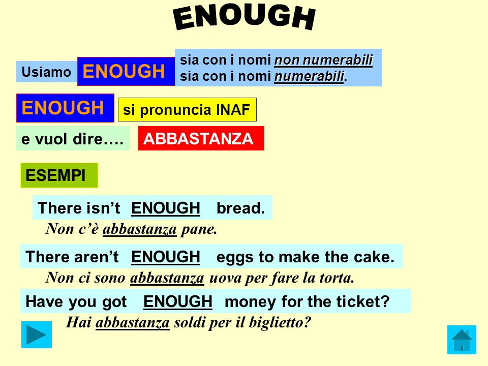 ENOUGH ENOUGH e vuol dire…. ABBASTANZA ESEMPI There isn't ENOUGH
