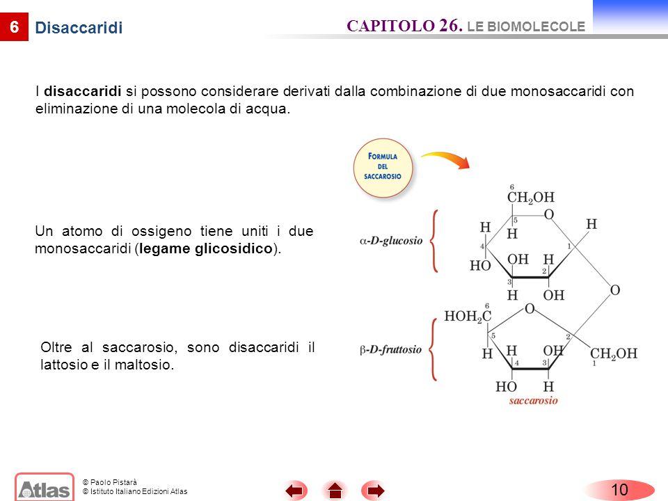 CAPITOLO 26. LE BIOMOLECOLE Disaccaridi