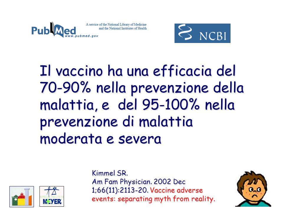 Il vaccino ha una efficacia del 70-90% nella prevenzione della malattia, e del 95-100% nella prevenzione di malattia moderata e severa