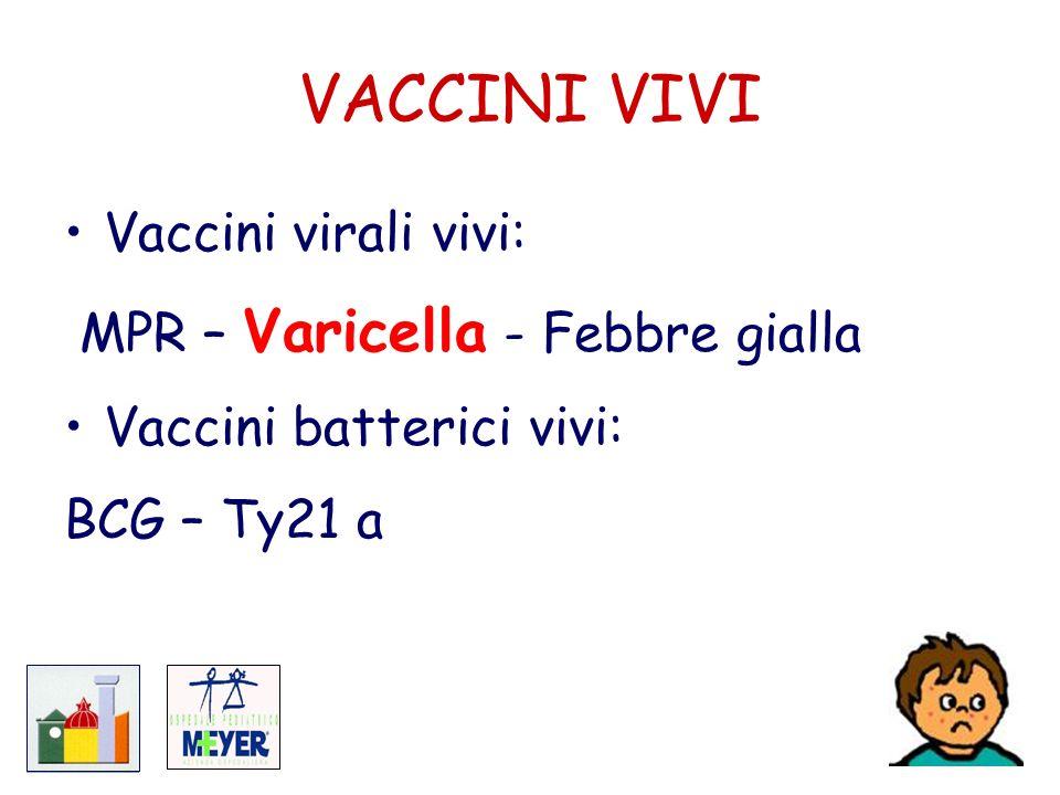 VACCINI VIVI Vaccini virali vivi: MPR – Varicella - Febbre gialla