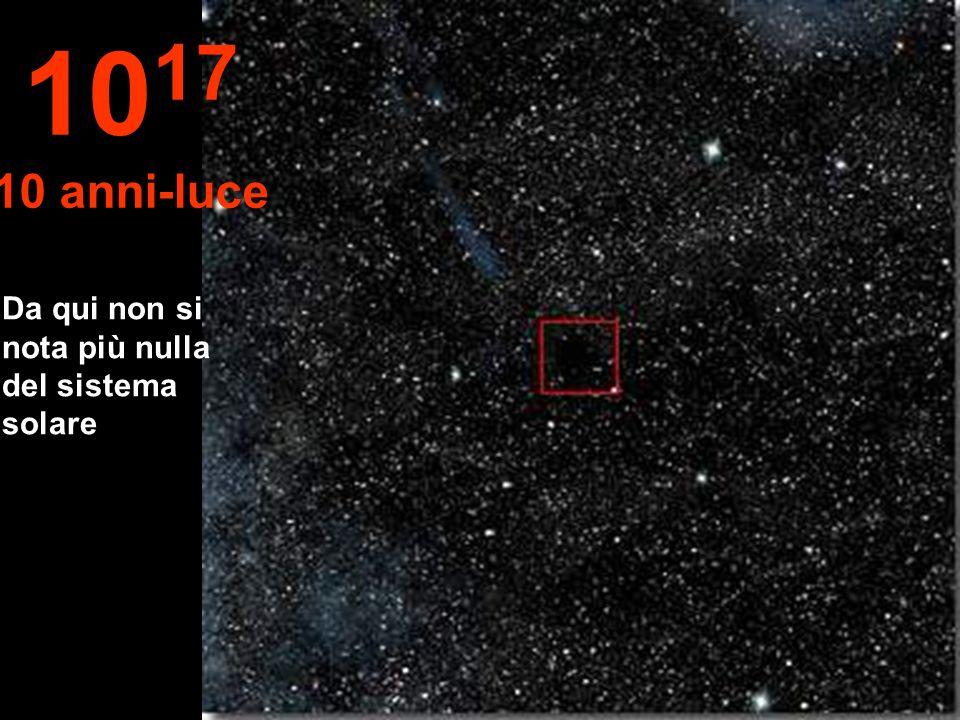 1017 10 anni-luce Da qui non si nota più nulla del sistema solare