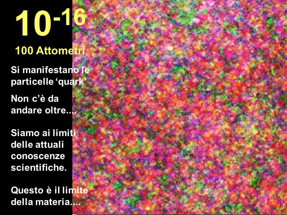10-16 100 Attometri Si manifestano le particelle 'quark'