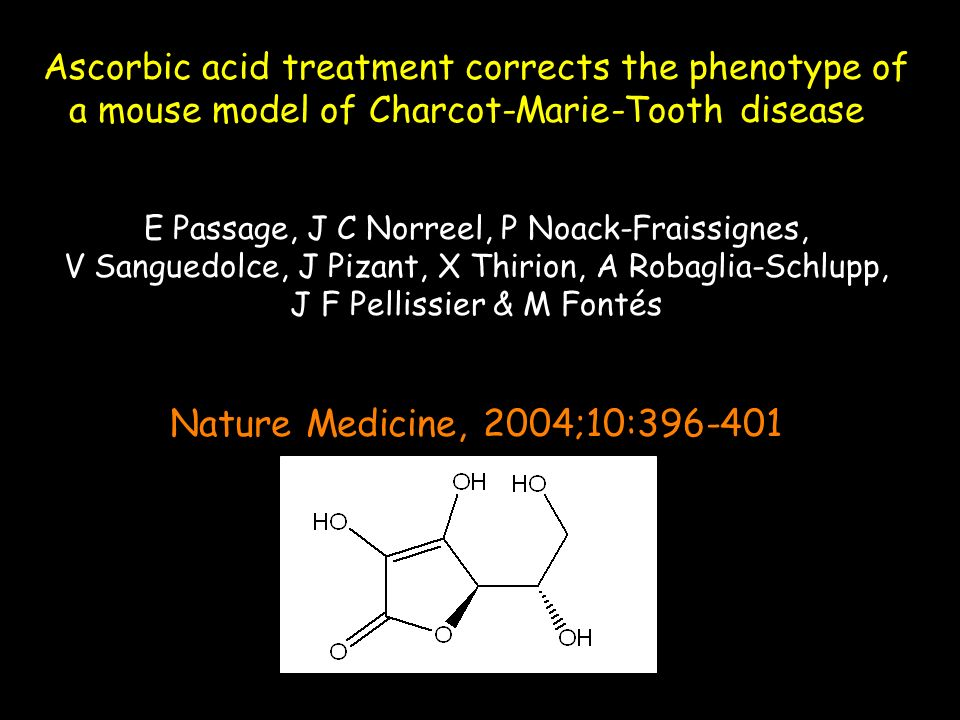 Ascorbic acid treatment corrects the phenotype of a mouse model of Charcot-Marie-Tooth disease