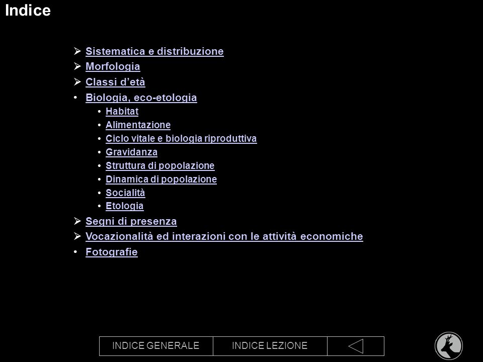 Indice Sistematica e distribuzione Morfologia Classi d'età