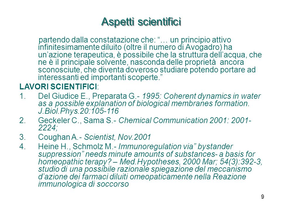 Aspetti scientifici