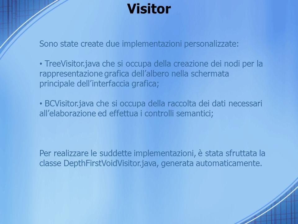 Visitor Sono state create due implementazioni personalizzate: