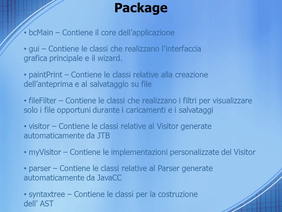 Package bcMain – Contiene il core dell'applicazione
