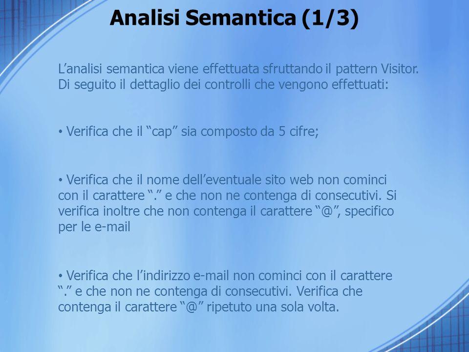 Analisi Semantica (1/3) L'analisi semantica viene effettuata sfruttando il pattern Visitor.