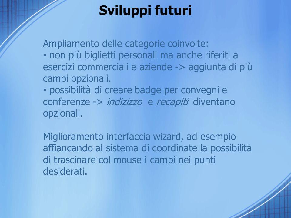 Sviluppi futuri Ampliamento delle categorie coinvolte: