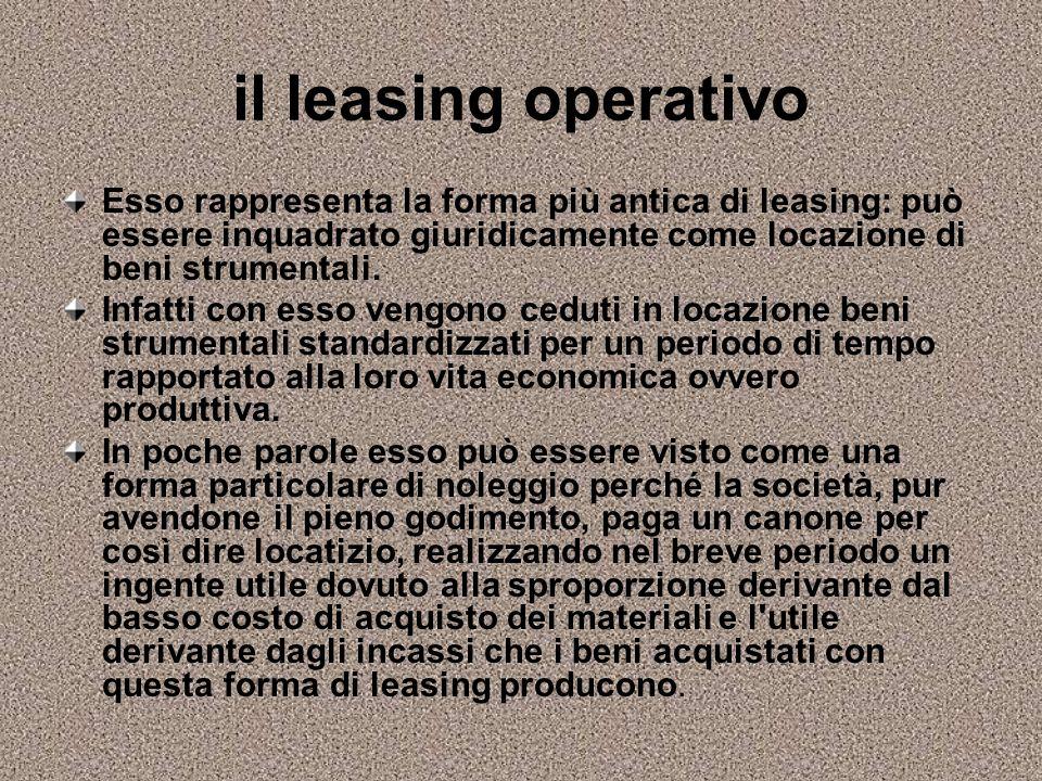 il leasing operativo Esso rappresenta la forma più antica di leasing: può essere inquadrato giuridicamente come locazione di beni strumentali.