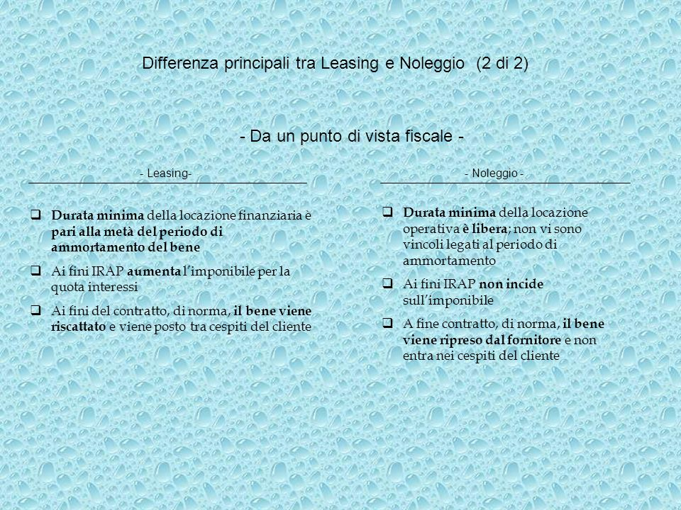 Differenza principali tra Leasing e Noleggio (2 di 2)