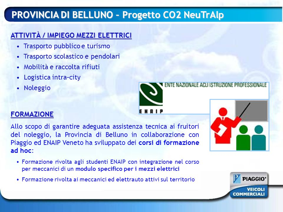 PROVINCIA DI BELLUNO – Progetto CO2 NeuTrAlp