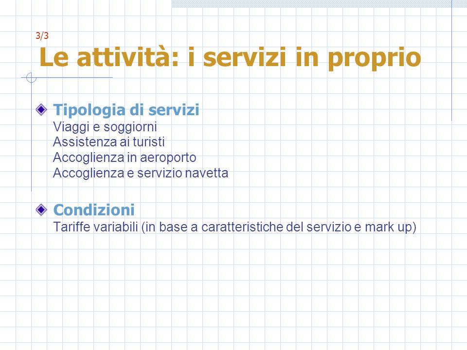 3/3 Le attività: i servizi in proprio