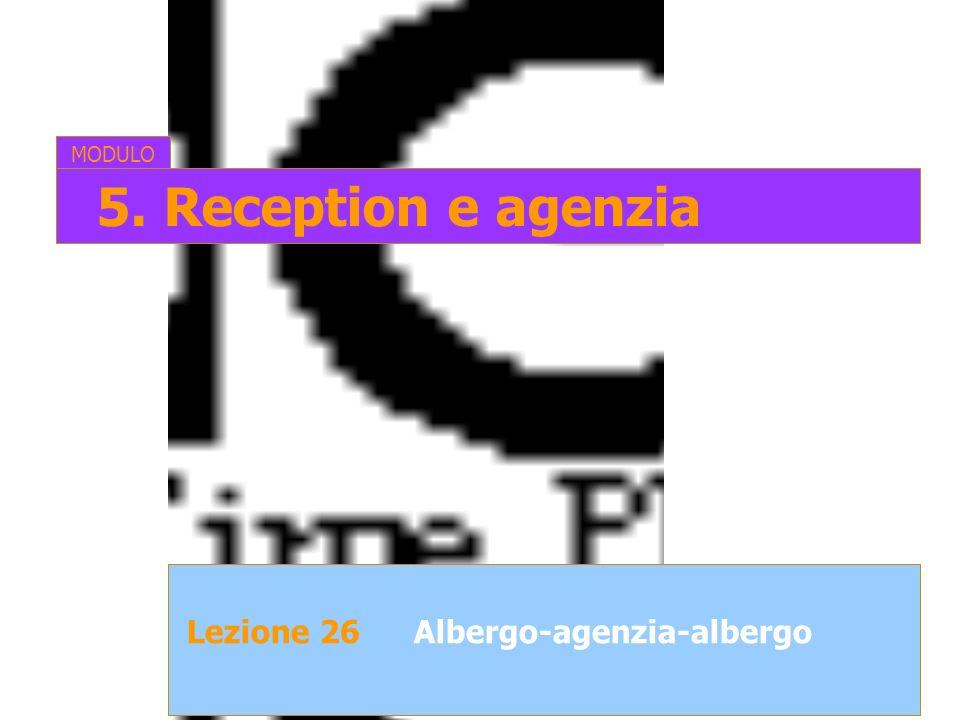 MODULO 5. Reception e agenzia Lezione 26 Albergo-agenzia-albergo