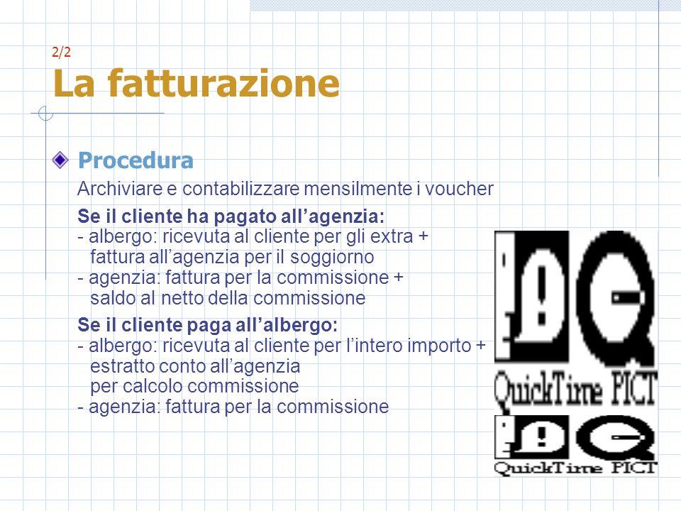 2/2 La fatturazione Procedura. Archiviare e contabilizzare mensilmente i voucher.