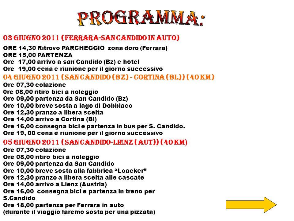 PROGRAMMA: 03 giugno 2011 (Ferrara-San candido in auto)