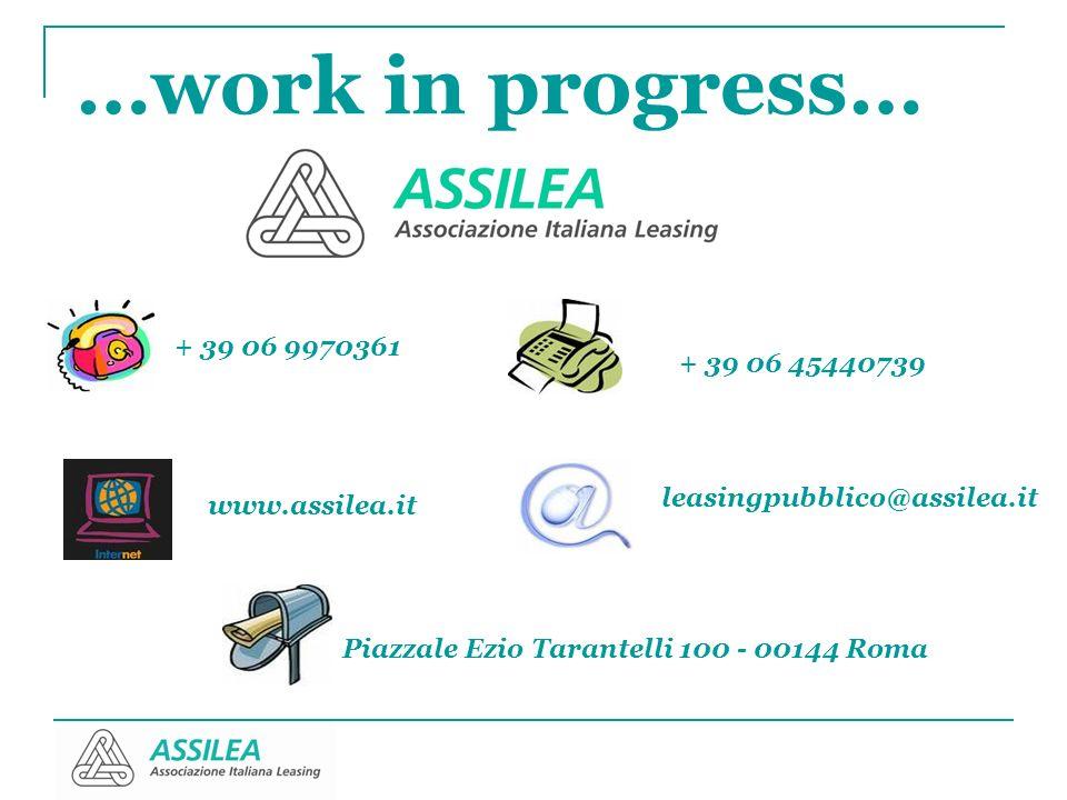 …work in progress… + 39 06 9970361. + 39 06 45440739. leasingpubblico@assilea.it. www.assilea.it.