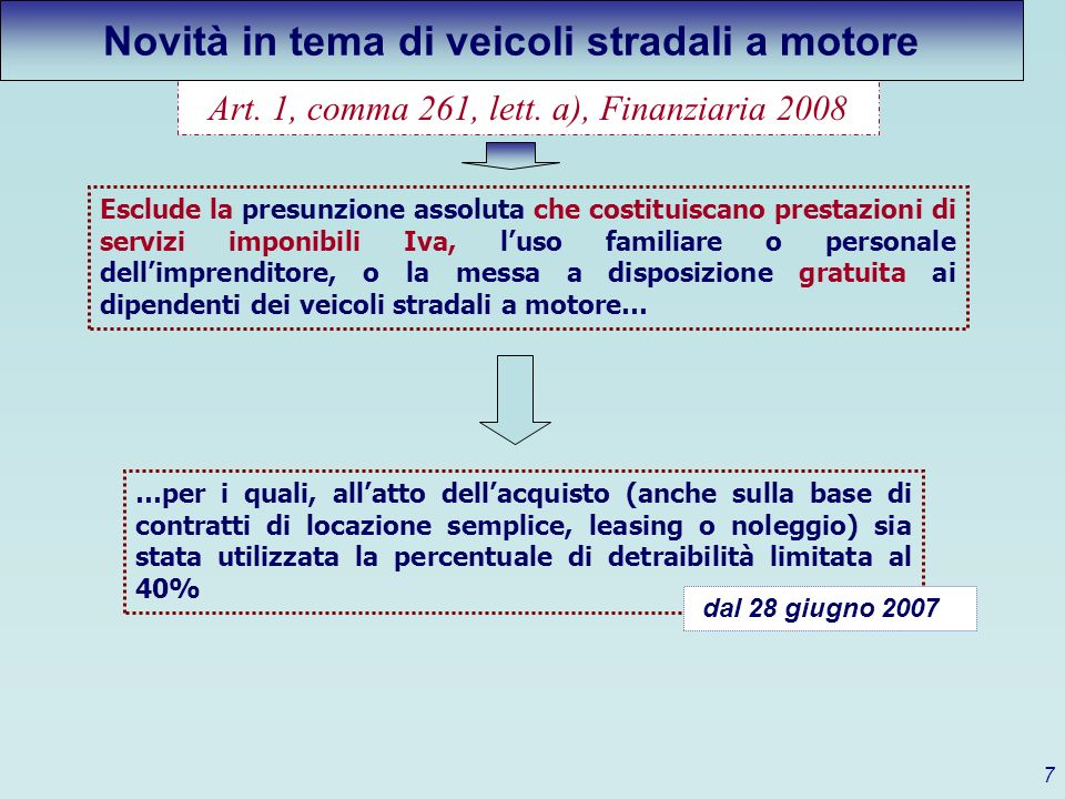 Novità in tema di veicoli stradali a motore
