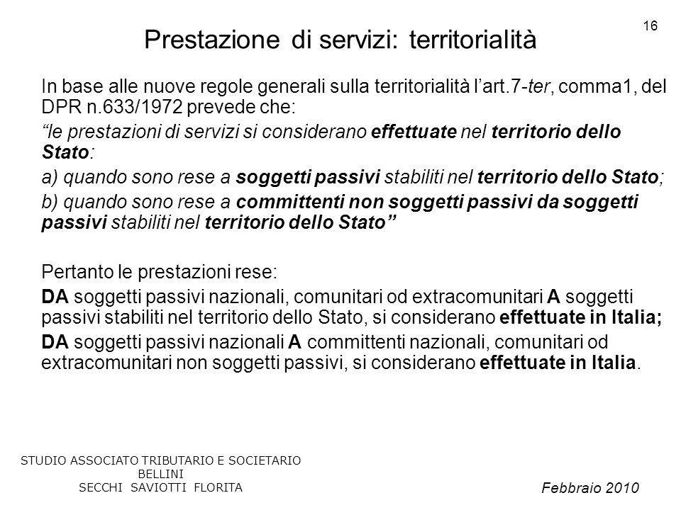 Prestazione di servizi: territorialità