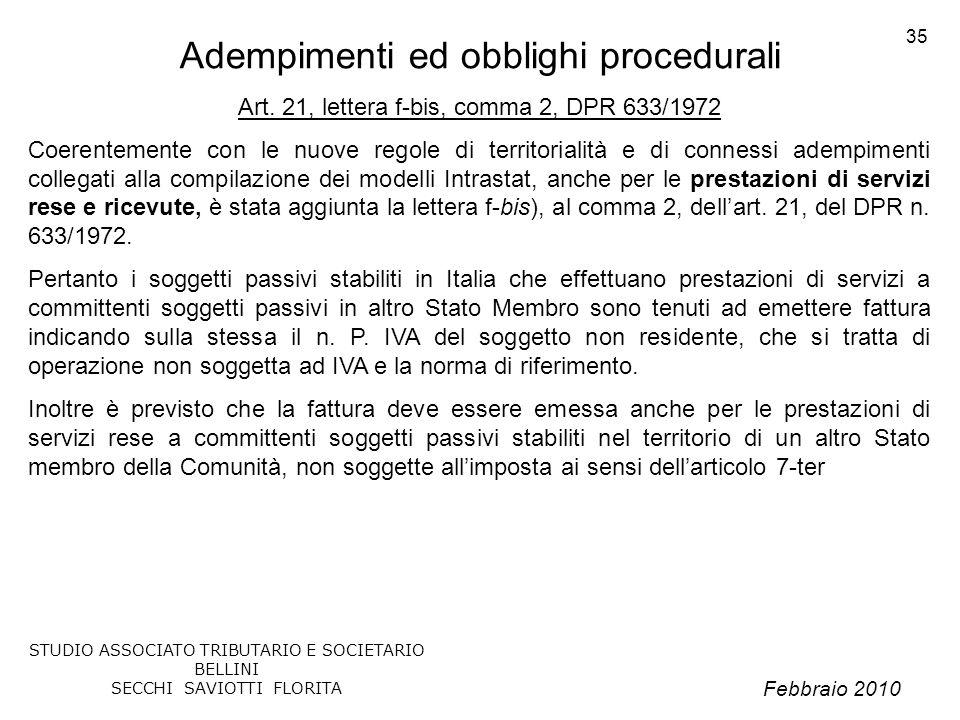 Adempimenti ed obblighi procedurali