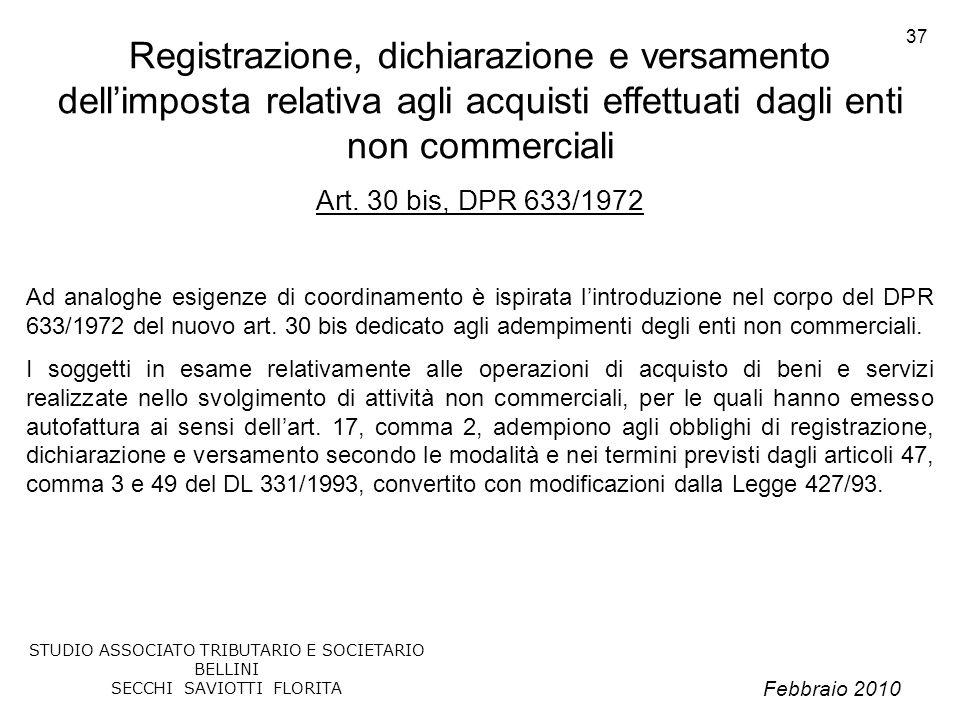 Registrazione, dichiarazione e versamento dell'imposta relativa agli acquisti effettuati dagli enti non commerciali