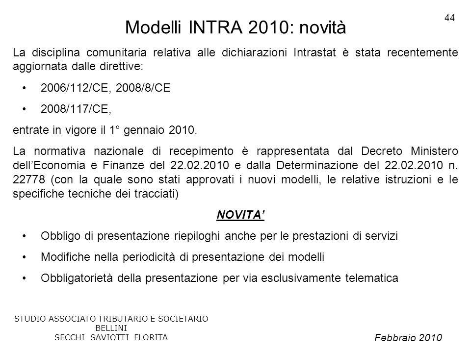 Modelli INTRA 2010: novità La disciplina comunitaria relativa alle dichiarazioni Intrastat è stata recentemente aggiornata dalle direttive: