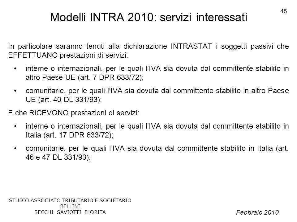 Modelli INTRA 2010: servizi interessati