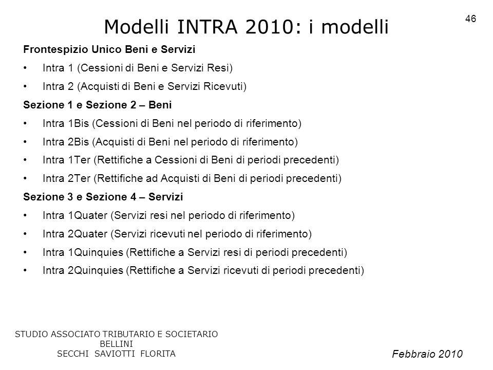 Modelli INTRA 2010: i modelli
