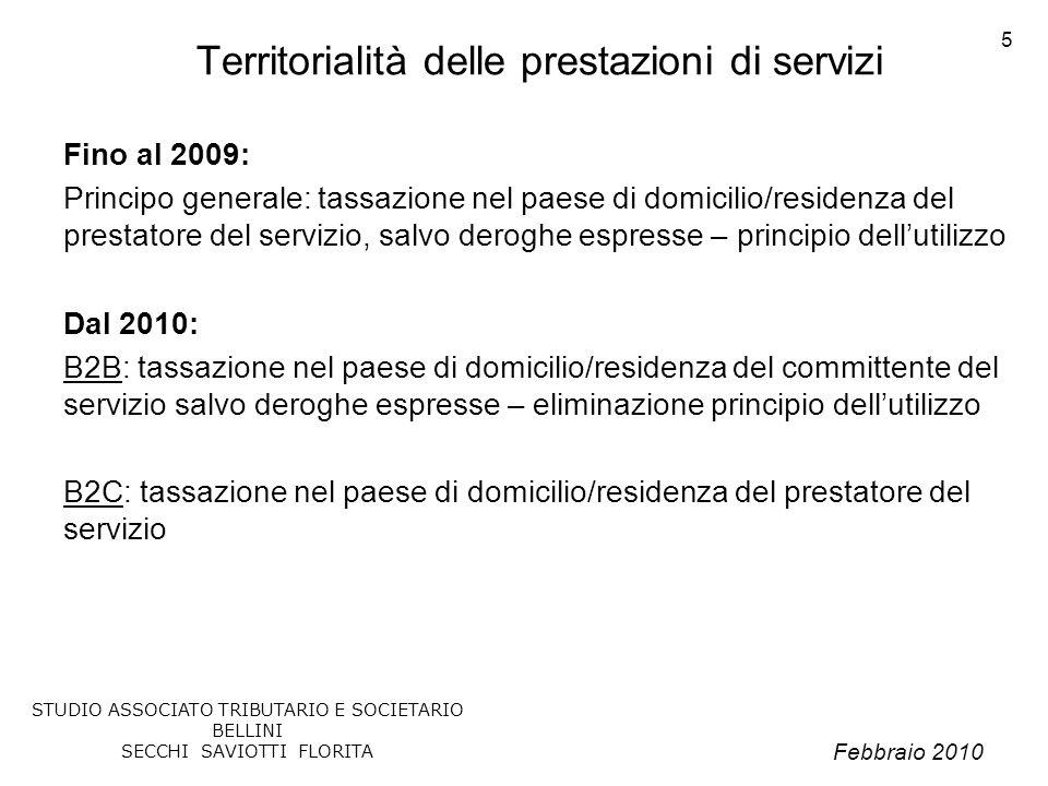 Territorialità delle prestazioni di servizi