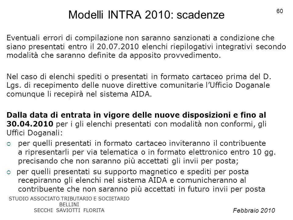 Modelli INTRA 2010: scadenze