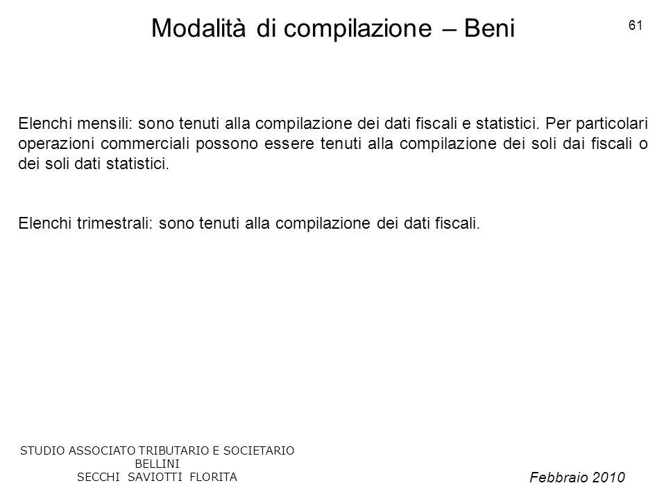 Modalità di compilazione – Beni
