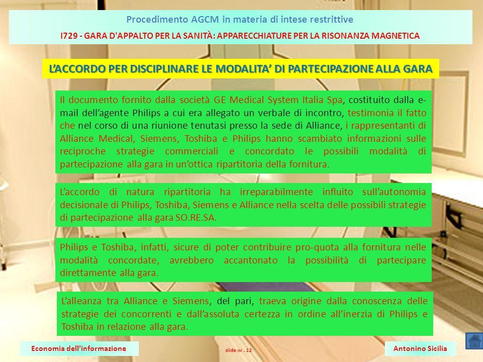 L'ACCORDO PER DISCIPLINARE LE MODALITA' DI PARTECIPAZIONE ALLA GARA