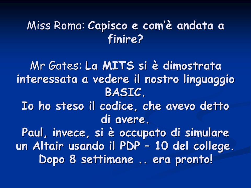 Miss Roma: Capisco e com'è andata a finire