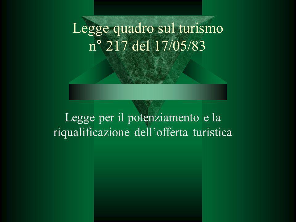 Legge quadro sul turismo n° 217 del 17/05/83