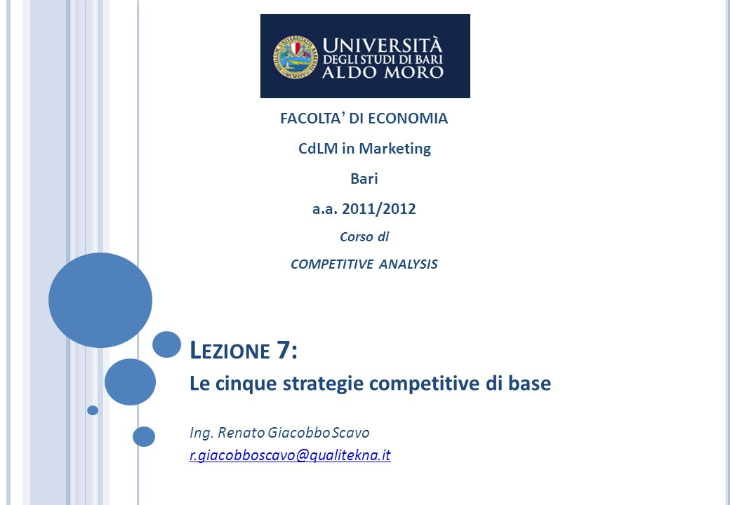 Lezione 7 le cinque strategie competitive di base ppt for Pianificatore di base online
