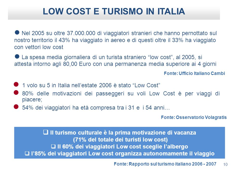 LOW COST E TURISMO IN ITALIA