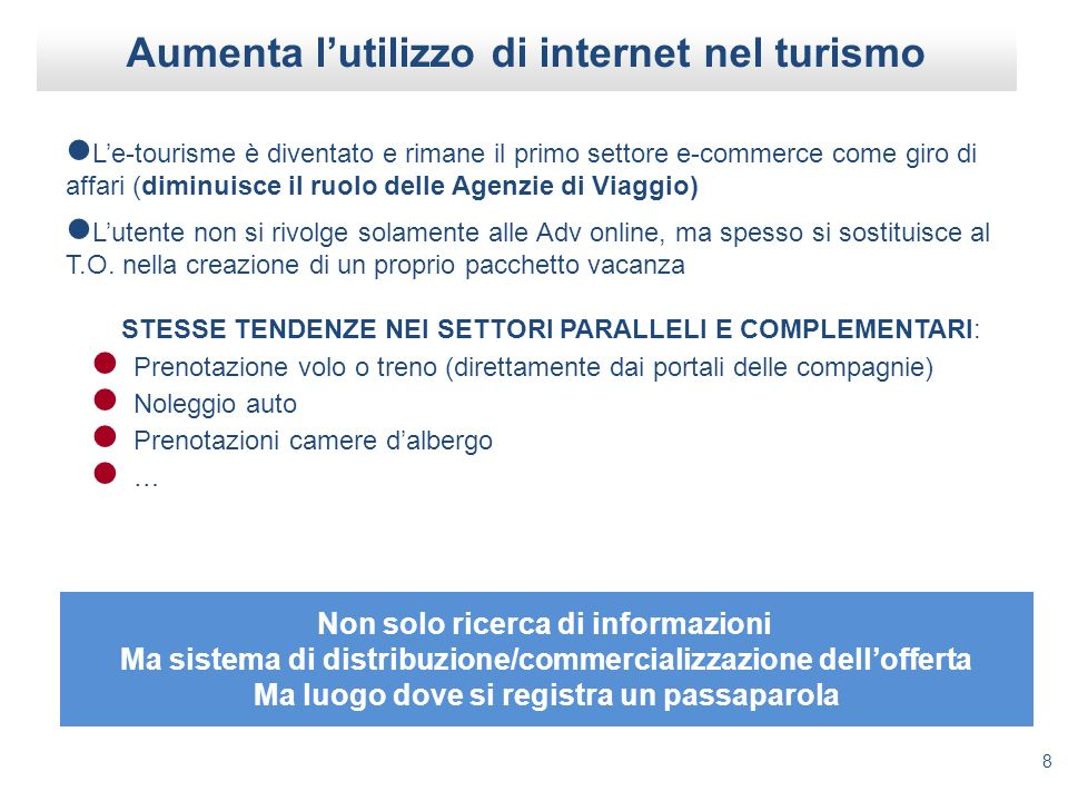 Aumenta l'utilizzo di internet nel turismo
