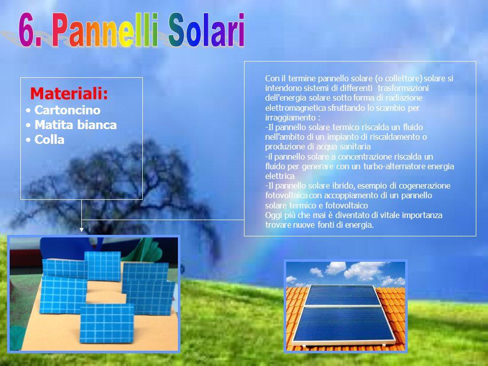 6. Pannelli Solari Materiali: Cartoncino Matita bianca Colla