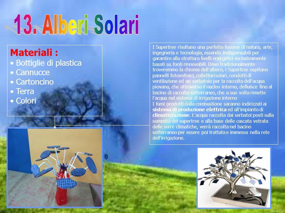 13. Alberi Solari Materiali : Bottiglie di plastica Cannucce