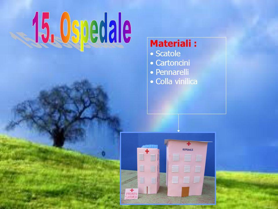 15. Ospedale Materiali : Scatole Cartoncini Pennarelli Colla vinilica