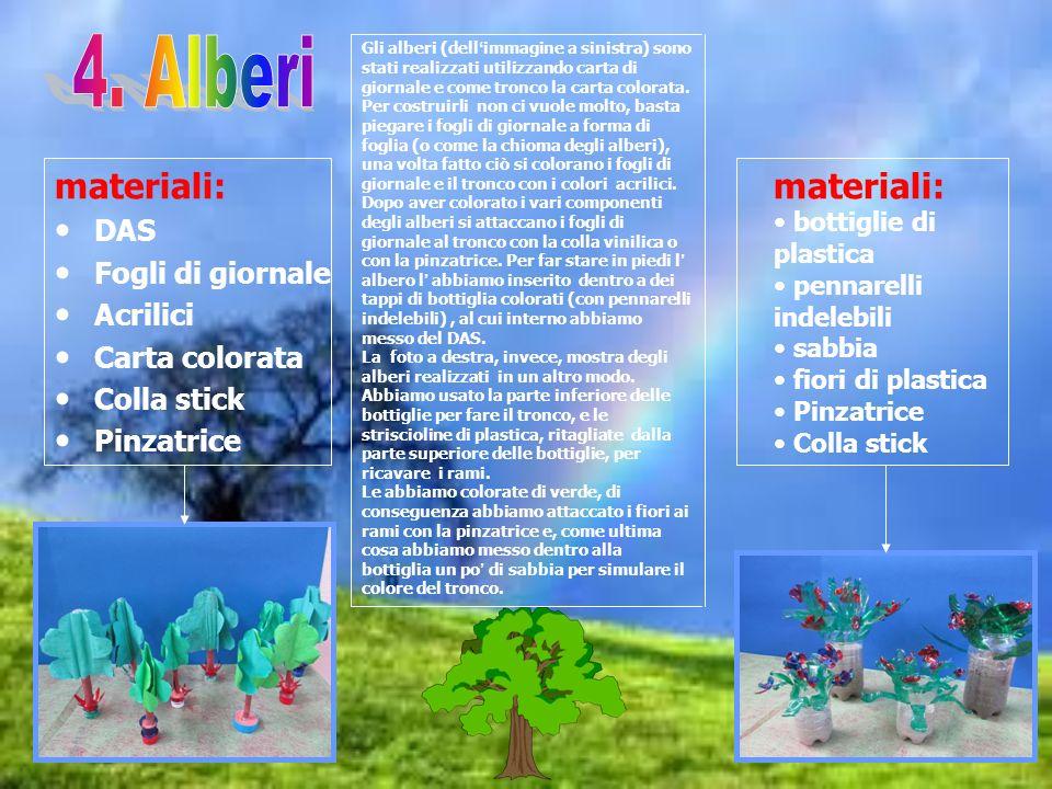 4. Alberi materiali: materiali: DAS Fogli di giornale Acrilici